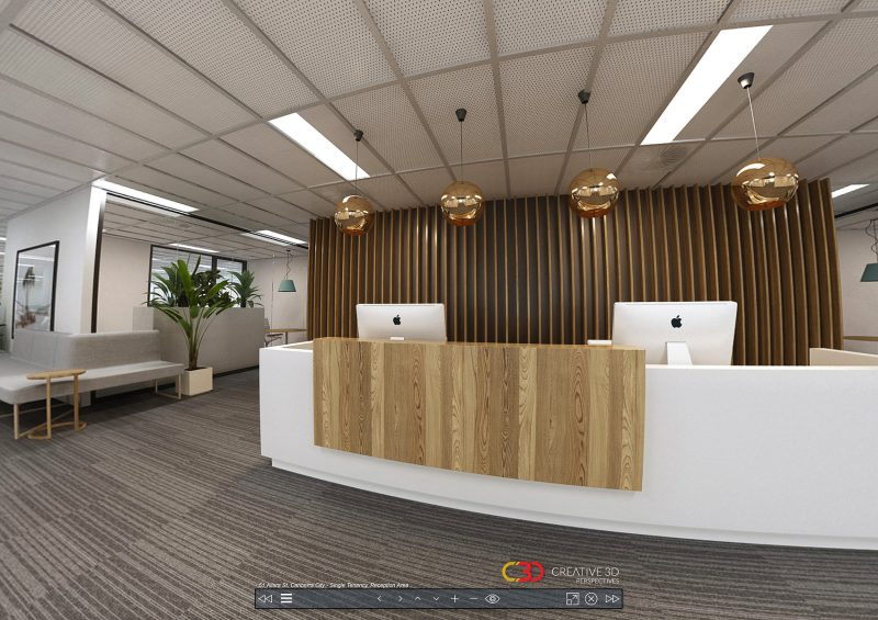 Modern classic reception desk in white & timber: Creative 3D Perspectives interior office virtual tour