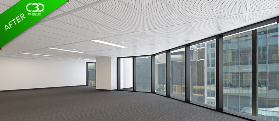 Photomontage office refurbishment/make good photo after with new ceilings carpeting